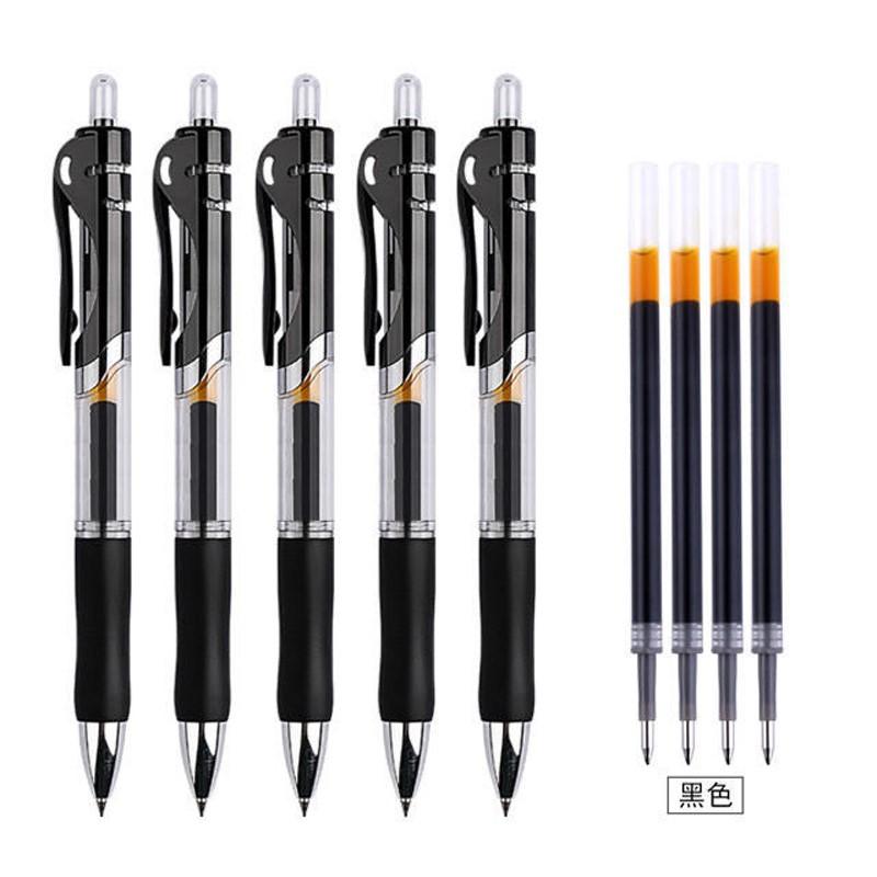 按动中性笔0.5mm笔芯圆珠笔签字笔会议笔黑红蓝学生学习办公用品