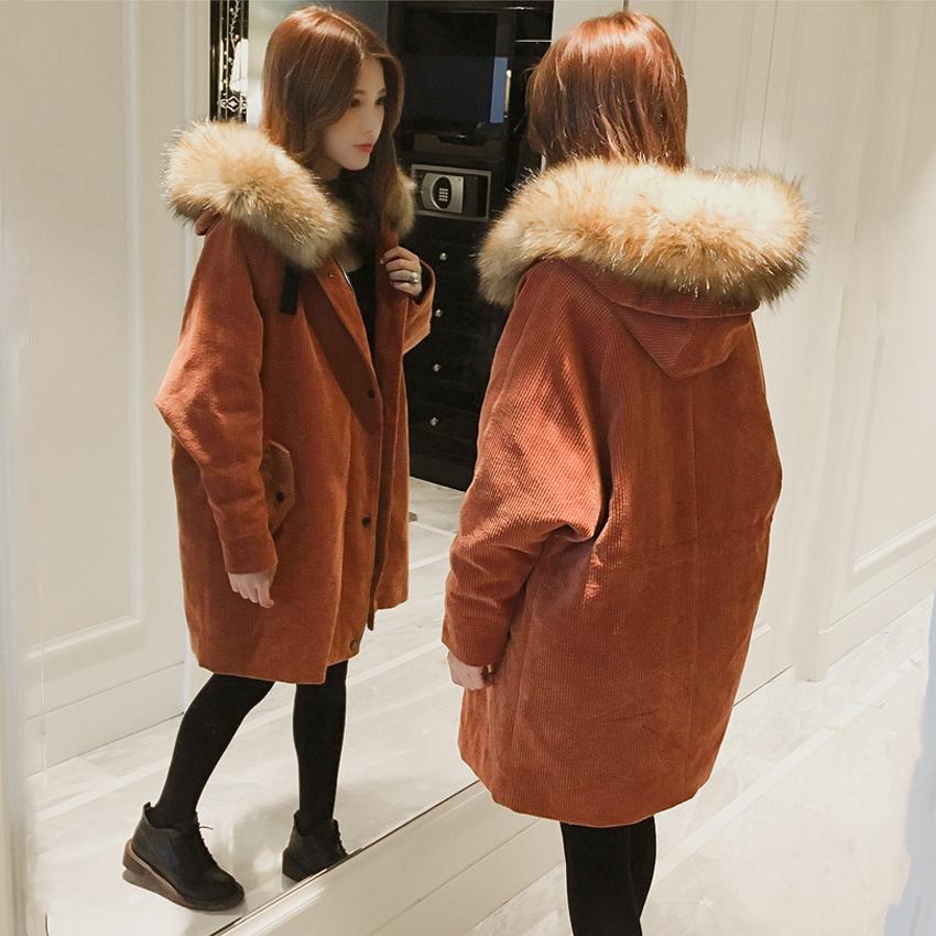 chic冬季灯芯绒外套女中长款棉服大毛领学生宽松