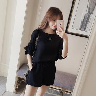 5   夏季胖mm兩件套裝韓版大碼女裝寬松顯瘦短袖雪紡套裝女潮學生