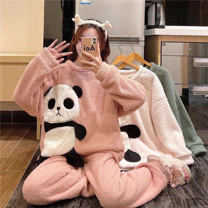 睡衣女秋冬季韩版卡通甜美可爱学生加厚加绒羊羔绒ins风网红套装a