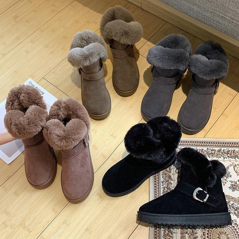加绒加厚底显高兔毛短筒雪地靴运动毛毛短靴子女2020秋冬新款棉鞋