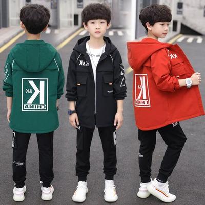 2021新款韩版男童外套春秋儿童洋气秋款风衣中大童帅气中长款上衣