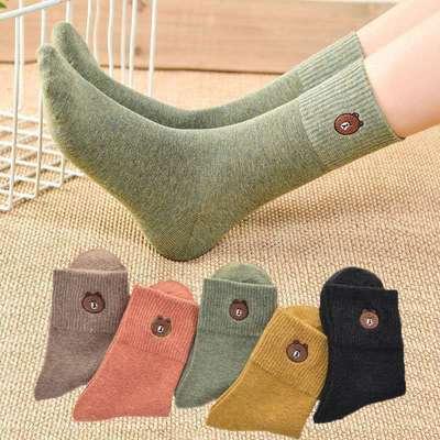 小熊短袜船袜中筒袜韩版袜子学生四季袜子冬夏袜子