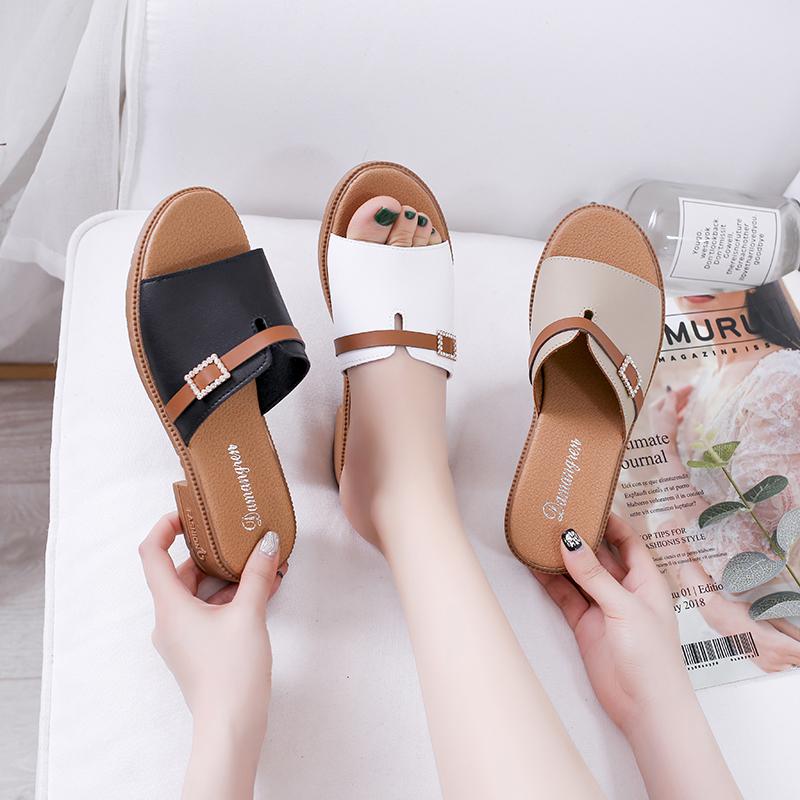 夏季凉拖鞋韩版一字拖女粗低跟百搭拖鞋外穿