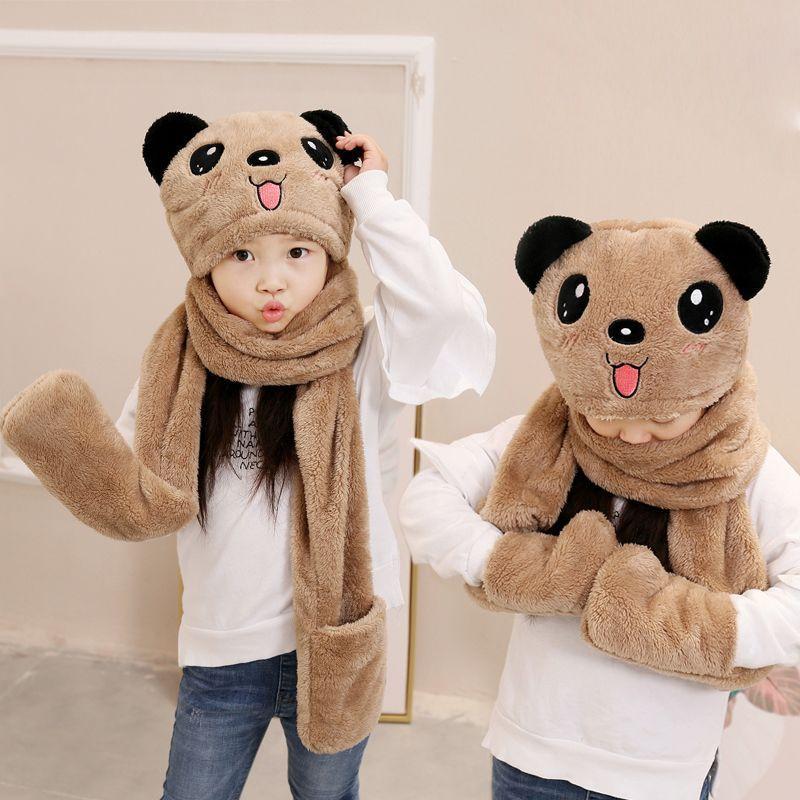 秋冬季儿童围巾帽子手套三件套一体宝宝男女� 童保暖围脖加厚学生