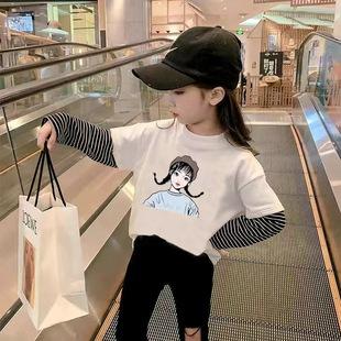 女童長袖打底衫兒童t恤拼接假兩件上衣
