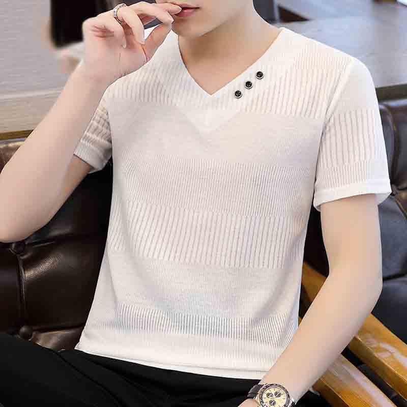 【空巷男装】短袖t恤男v领夏季新款潮流冰丝衣服修身体恤男装纯色