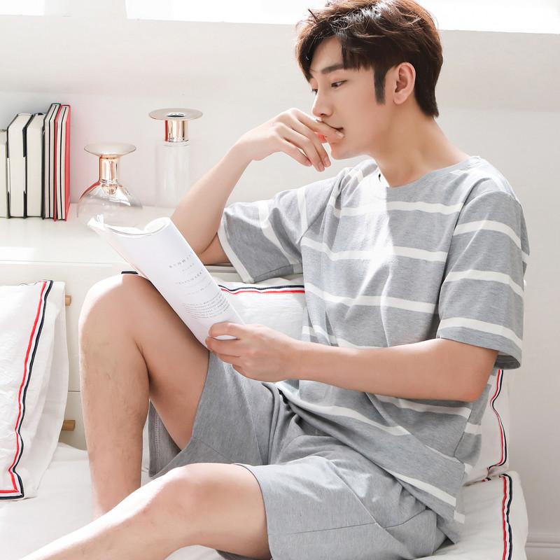 夏天家居服套装睡衣男短袖纯色棉质睡衣短裤