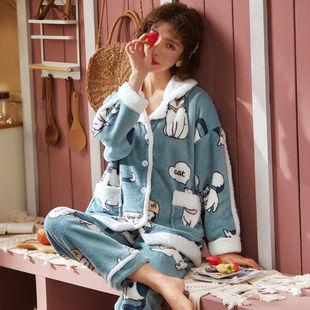 秋冬款睡衣女法蘭絨卡通套裝大碼開衫家居服