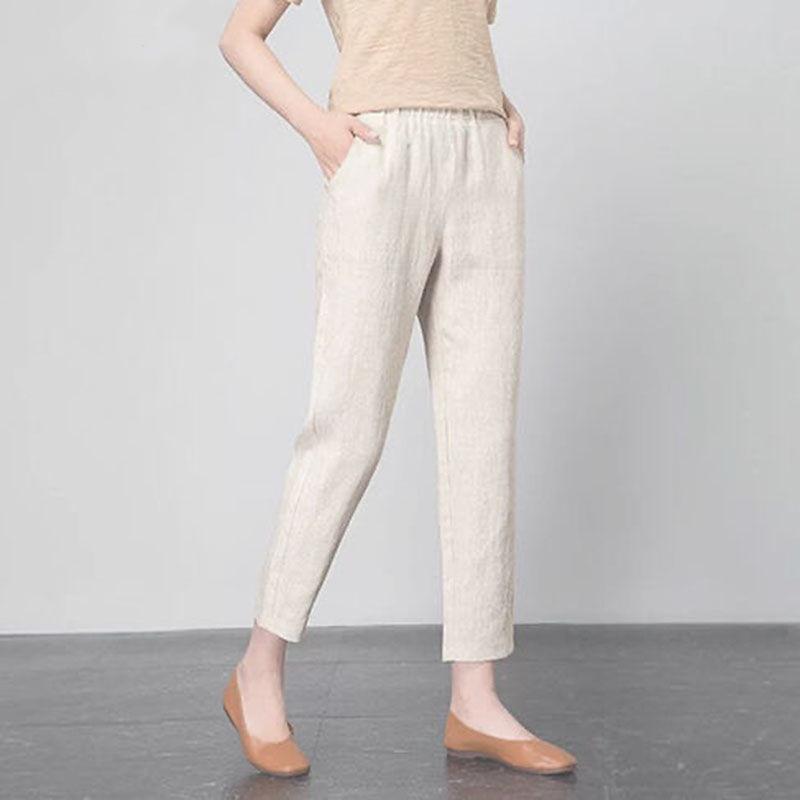 夏季新款薄款冰丝仿棉麻女裤