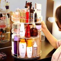 透明旋转加大化妆品收纳盒护肤品收纳架梳妆台桌面口红亚克力抖音