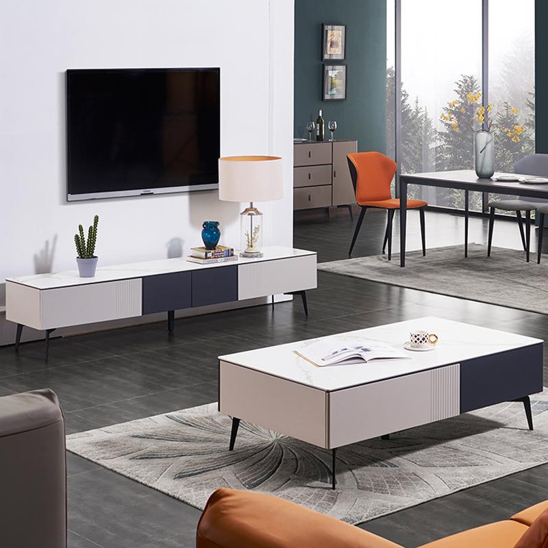 意式极简岩板茶几电视柜组合简约现代小户型茶台北欧轻奢客厅茶桌_图1