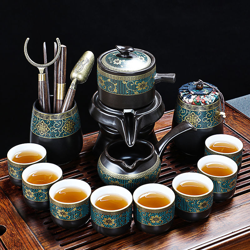 功夫茶具套装创意全自动家用陶瓷懒人防烫复古简约办公泡茶