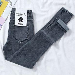 春夏新款韩版高腰牛仔裤女弹力显瘦裤修身潮
