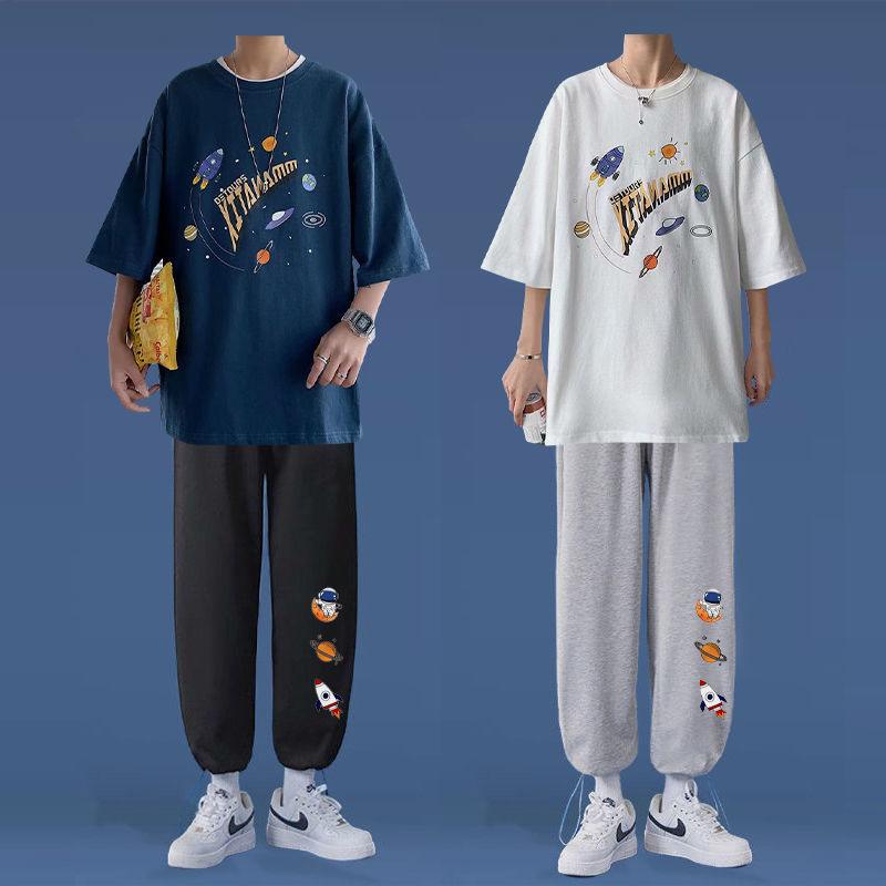休闲运动套装男春季2021新款一套衣服男韩版潮流裤子男学生两件套