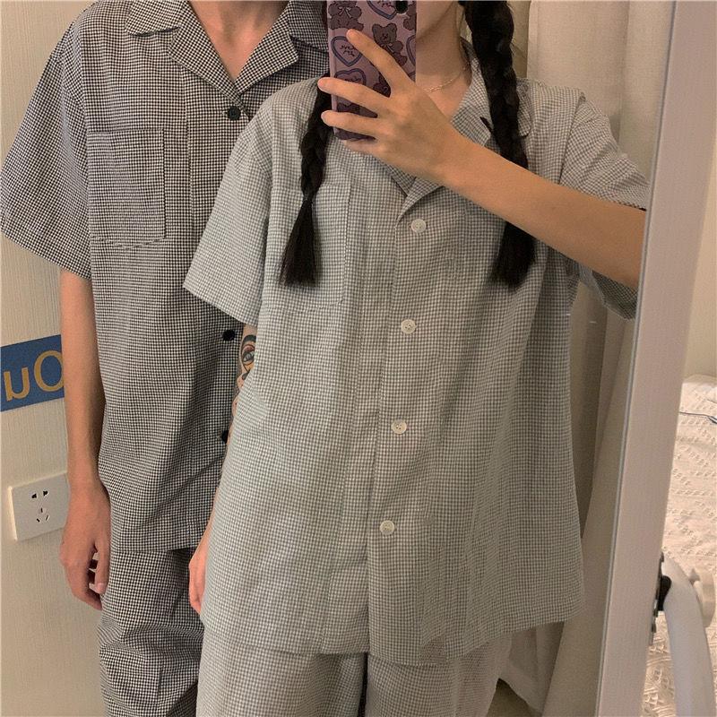 睡衣女新款日系格子甜美简约短袖短裤薄款家居服套装