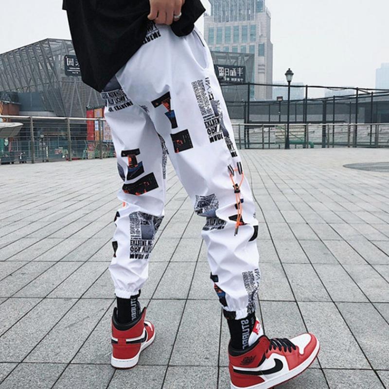 潮牌ins超火hiphop九分裤子男渐变束脚哈伦裤嘻哈休闲运动裤