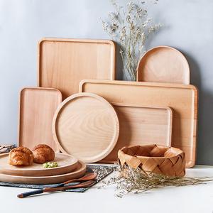 Nhật bản retro khay gỗ hình chữ nhật tấm gỗ hộ gia đình khay trà khay bánh mì tấm gỗ đĩa trái cây