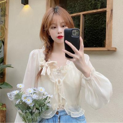 taobao agent Very fairy sweet super fairy with sunscreen cardigan wooden ear shirt chiffon shirt tops women summer thin blouses