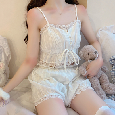 taobao agent Japanese soft girl 2021 summer new style little sexy white lace design sense suspender pajamas suit female spring and autumn