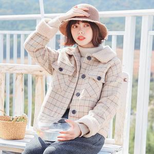 2017 mùa đông mới lamb fur collar retro kẻ sọc ngắn len nữ dày lỏng sinh viên áo len