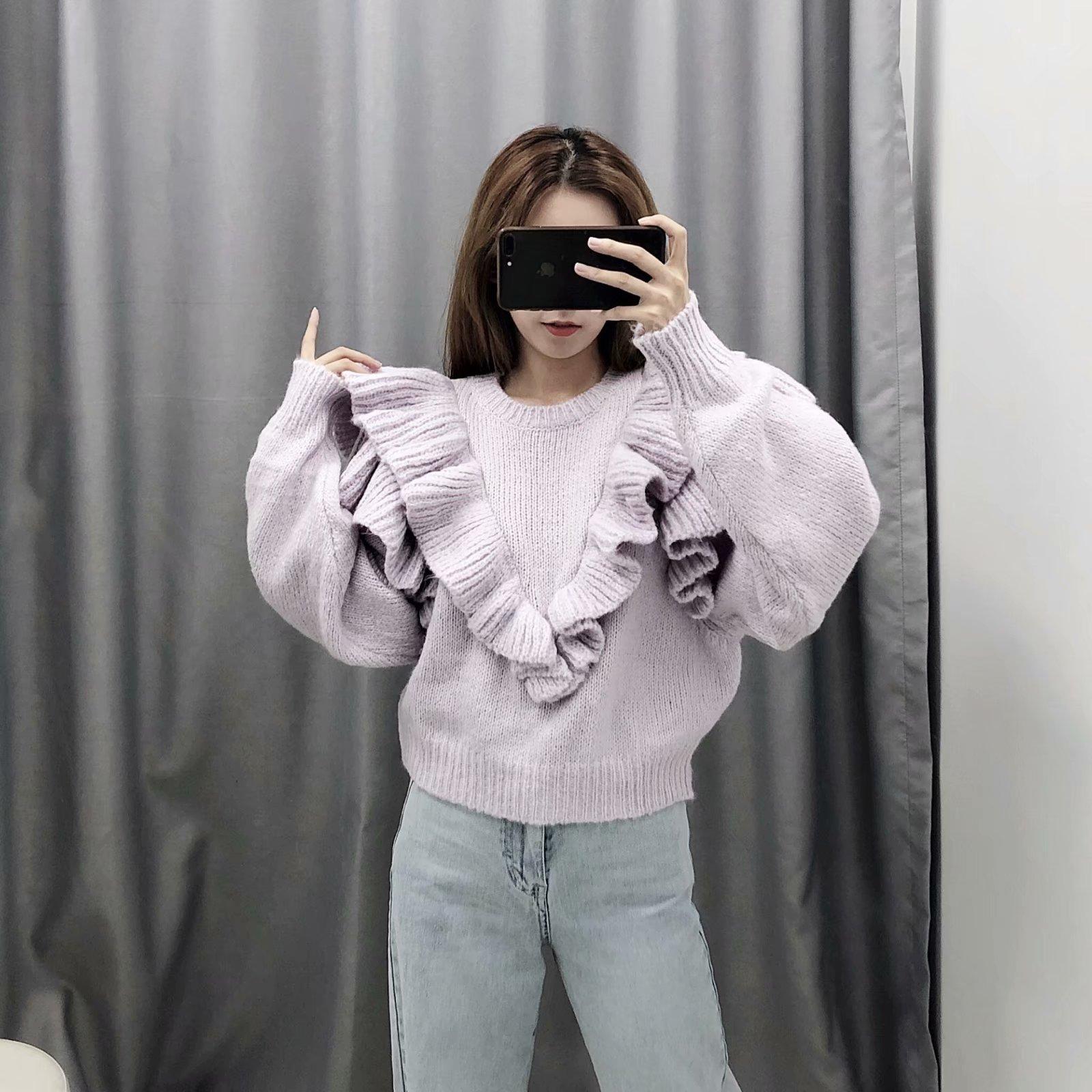 2019 новый женщины сложить слой декоративный свитер  09659100629 601111160974
