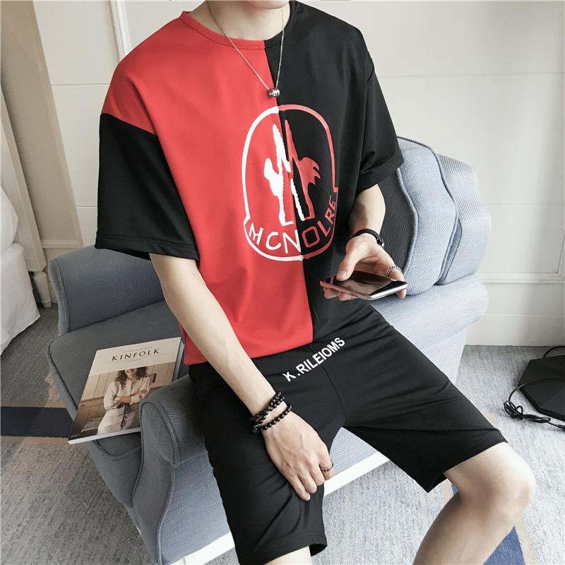 港风男士套装夏季2018新款个性潮帅气休闲短袖大码T恤TZ827P55
