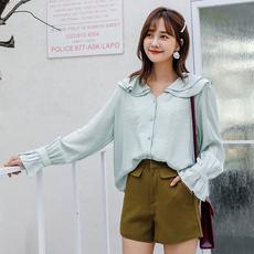实拍现货  小清新原宿风衬衫女学生2019新款韩版chic宽松学院风