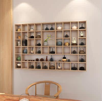 架_搁板壁挂墙上置物架茶壶展示架实木格子架茶杯格子架储物柜可