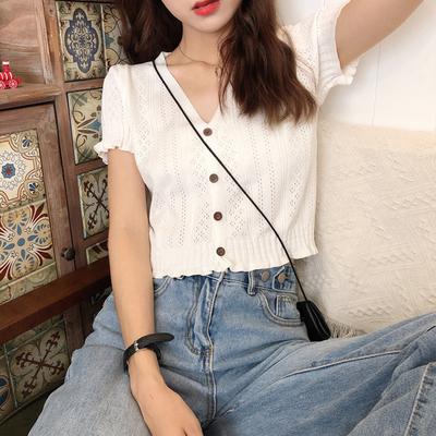 针织冰丝短袖夏季短款V领针织冰丝短袖t恤时尚V领设计