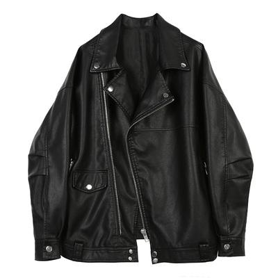 2018 mùa xuân mới áo khoác da của phụ nữ lỏng lẻo oversizePU da đầu máy BF gió loose retro áo sơ mi
