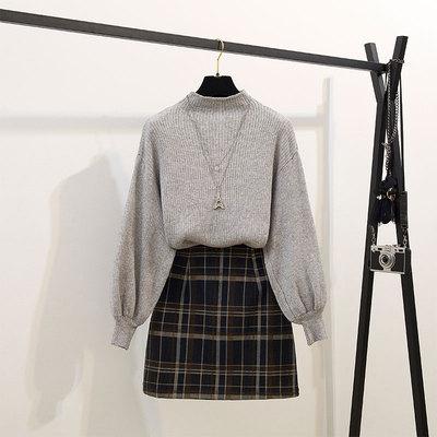 2019秋冬新款洋气半高领毛衣格子伞裙半身裙两件套小个子套装裙子