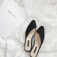 Giày da lộn da lộn 2019 Giày Muller mũi nhọn nữ dày với một nửa dép baotou bên ngoài mang dép châu Âu và Mỹ gợi cảm