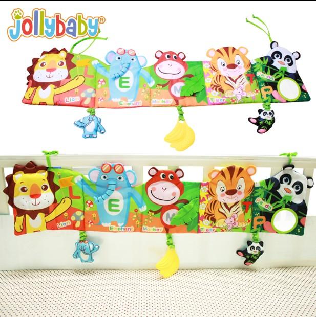 Jollybaby giường màu bao quanh bởi đa cảm thấy linh hoạt vải cuốn sách 0-1-2 tuổi bé bé câu đố giáo dục sớm đồ chơi