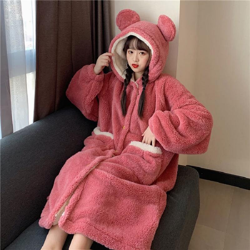 睡衣女士冬季长款可爱连帽学生珊瑚绒法兰绒家居服浴袍加厚睡袍冬