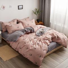 简约ins风床上用品四件套全棉纯棉宿舍1.8m床单被套单人三件套女4