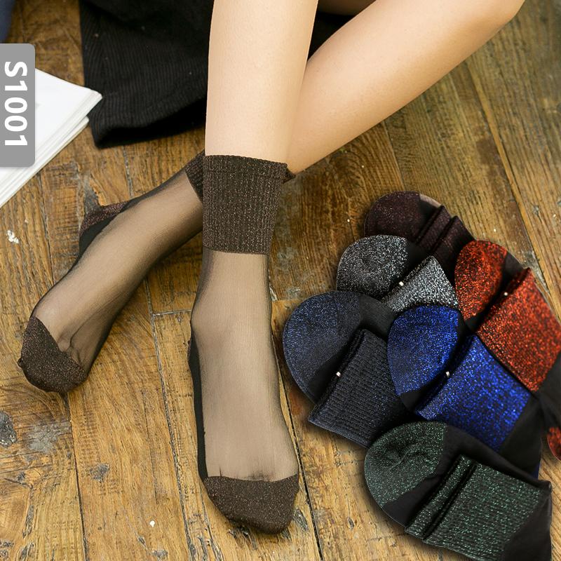 5双棉底丝袜玻璃丝女水晶丝金银丝秋冬季薄款防勾丝袜子女中筒袜