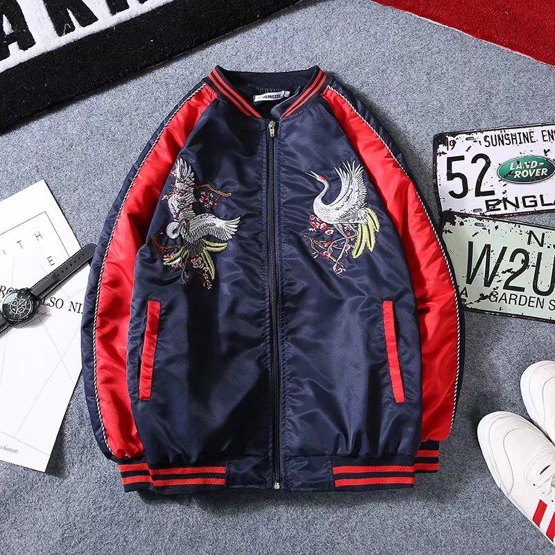 Nhanh tay đỏ áo khoác nam Hàn Quốc phiên bản của net áo sơ mi màu đỏ thêu đẹp trai tinh thần guy đàn ông xã hội áo khoác nam mùa xuân và mùa thu mô hình