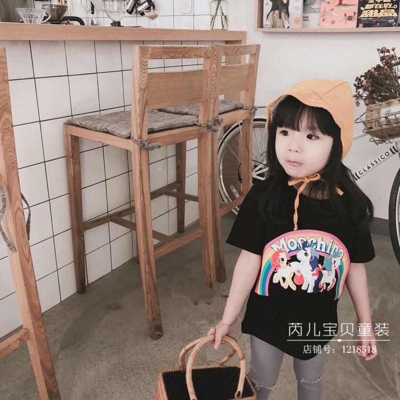 Quần áo trẻ em vừa và nhỏ 18 mùa xuân mới chàng trai và cô gái dễ thương pony cầu vồng in ấn vòng cổ hoang dã ngắn tay T-Shirt