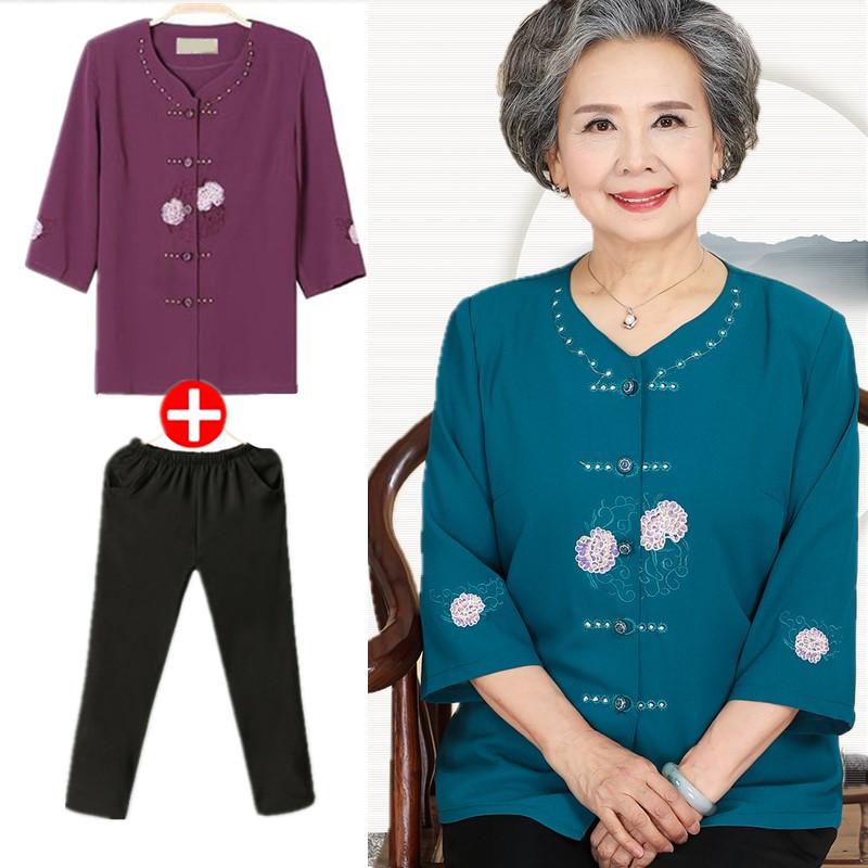 Phụ nữ trung niên của áo sơ mi ngắn tay voan trong tay áo áo mùa hè milkmaid phù hợp với 60-70-80 quần áo cũ