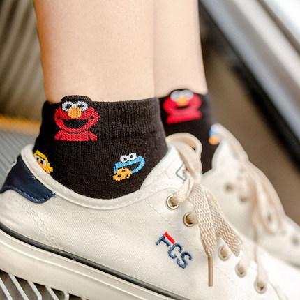 抖音同款ins袜子女3d卡通学生可爱大眼睛韩国芝麻街运动休闲潮袜