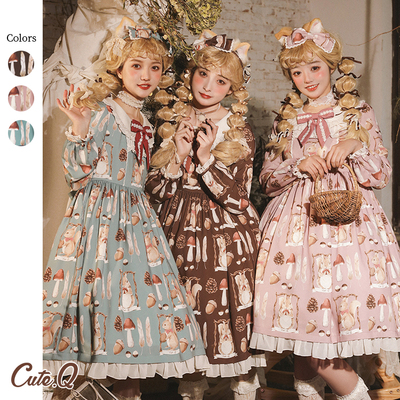 taobao agent 【Spot goods】Little Squirrel Story OP CuteQ original lolita light lo daily high waist long sleeve dress
