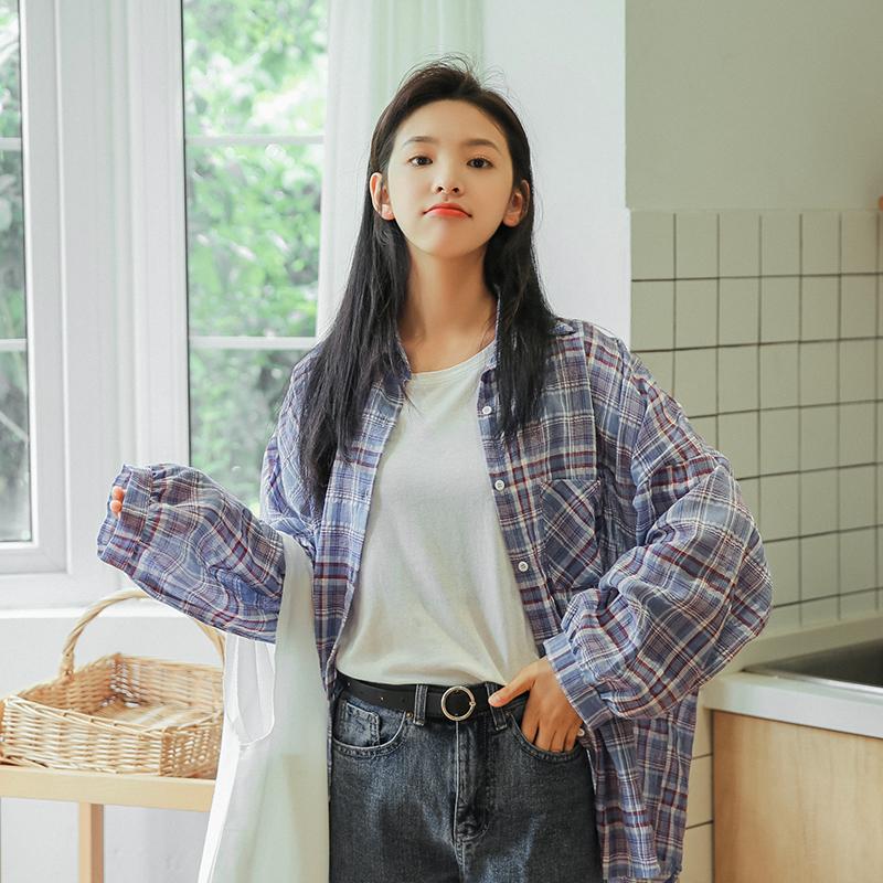 5776#视频秋冬新款中长款格子衬衫韩风宽松休闲百搭薄款衬衣女