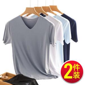 (买一送一)男士短袖t恤男冰丝男土体恤男夏季半袖白色打底衫