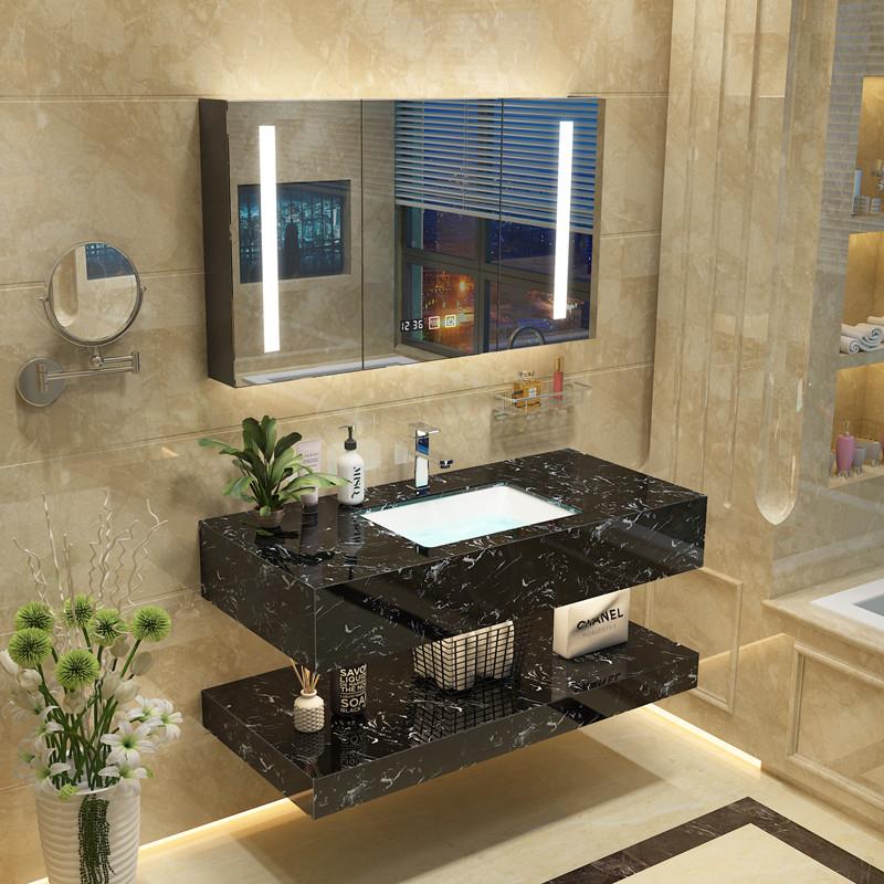 现代简约卫生间大理石浴室柜组合家用挂墙式洗脸盆洗漱台洗手盆池