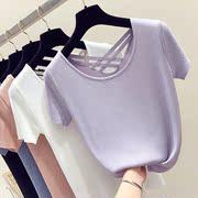 2018 mùa hè mới Hàn Quốc phiên bản của lỏng backless ngắn tay t-shirt nữ ice silk đan lại chữ thập cẩn thận máy top