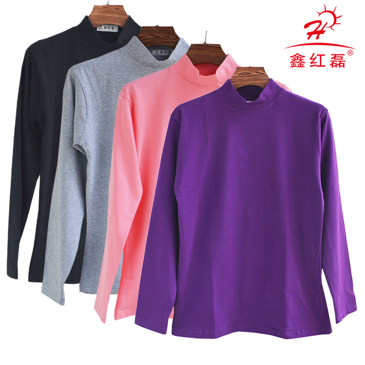 Trung niên và mùa thu quần áo của phụ nữ đơn mảnh áo sơ mi nữ bông trong cổ áo nửa cao cổ áo bông áo len người già ấm đồ lót phần mỏng
