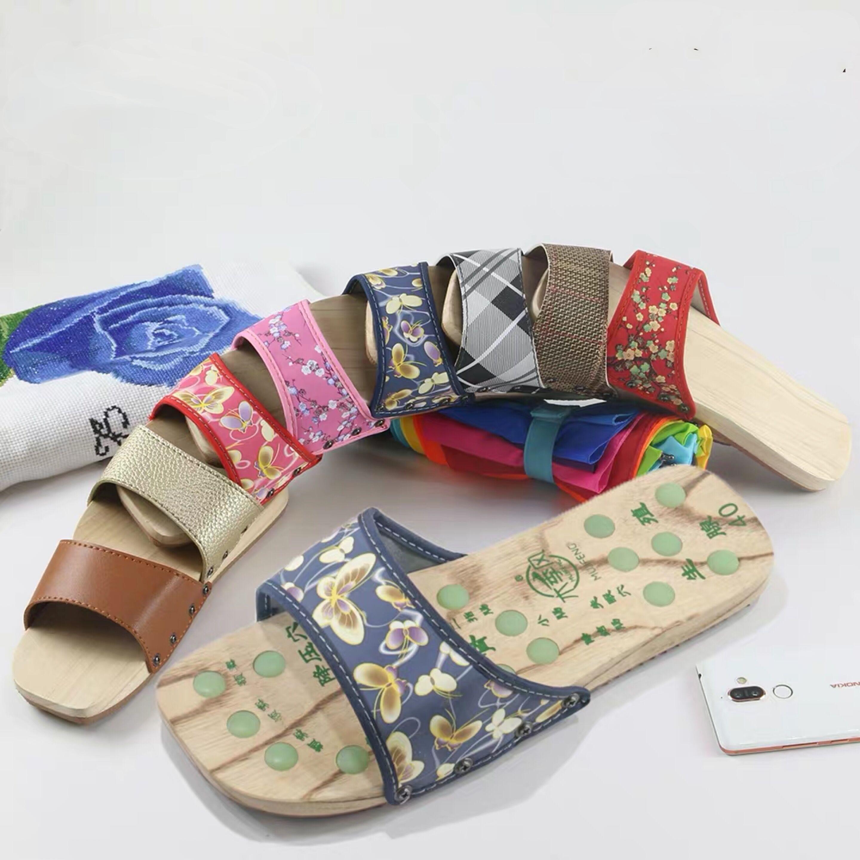 Dép gỗ nam và nữ bình thường guốc nam massage giày gỗ đôi giày gỗ chống trượt mùa hè thủy triều từ dép và dép - Dép