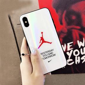 苹果xsmax手机壳潮牌玻璃iphone8plus情侣xr气囊支架7p男6个性aj
