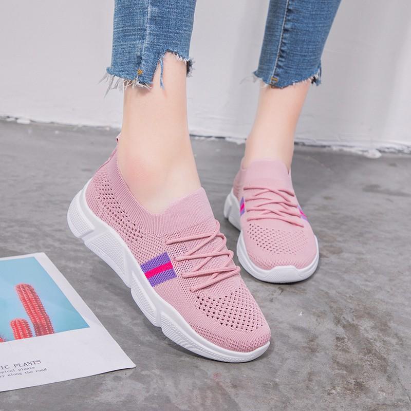 女鞋2019新款网鞋韩版运动鞋女时尚透气飞织跑步鞋休闲鞋软底单鞋,免费领取200元淘宝优惠卷